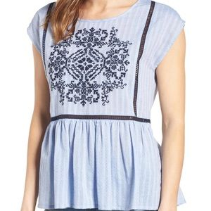 Nordstrom Caslon Embroidered Cotton Top Size L